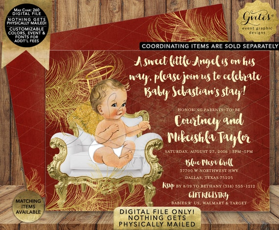 Angel Boy Red/Gold/White Baby Shower Invitation | Digital Printable File | JPG + PDF Format | By Gvites