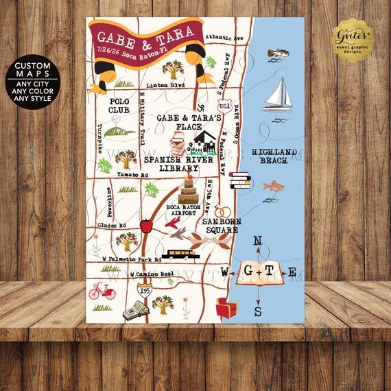 Custom Maps - Library Themed Wedding - Spanish River Library Boca Raton/ Florida - Designs Printable Files.