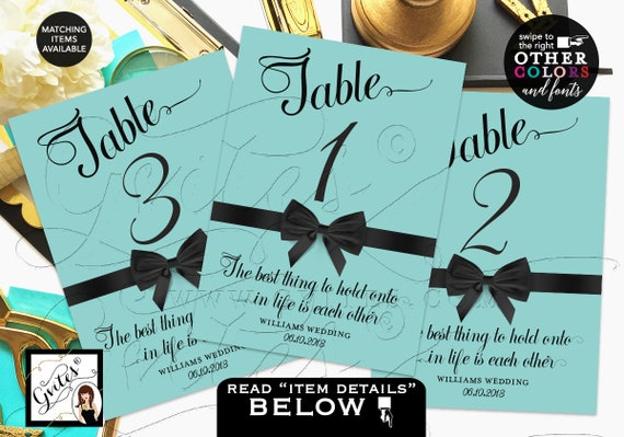 Turquoise Blue Wedding Table Numbers/ Breakfast at theme Wedding Bridal shower Birthday/ Audrey Hepburn PRINTABLE quotes table decor