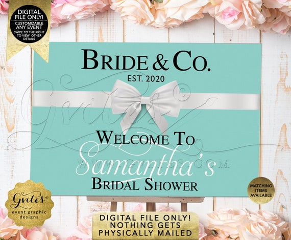 Bride & Co Welcome Sign. Customizable Text/Event/Fonts. Bridal/Wedding Shower Blue Theme Table Backdrop Decorations. DIY/Digital File Only!