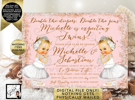 Winter Swan Lake Baby Shower Invitations For Twins. Rose Gold and Blush Pink Glitter/ Snowflake feathers themed. Digital File Only! 7x5""