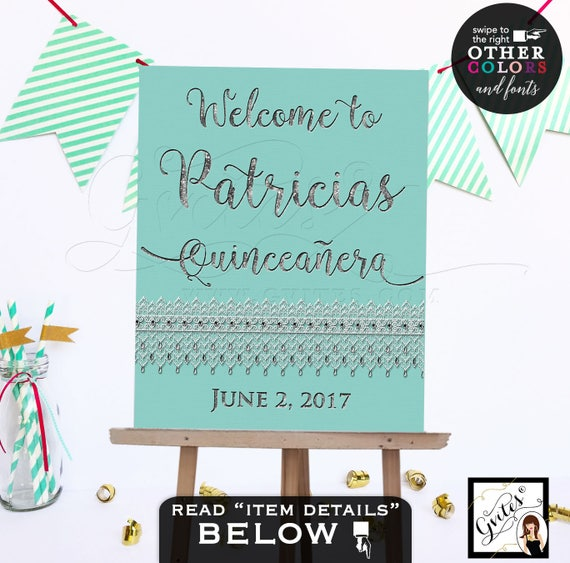 Quinceanera Welcome Signs - Sweet 16 Breakfast at silver birthday - CUSTOMIZABLE colors and fonts - Digital File Only!