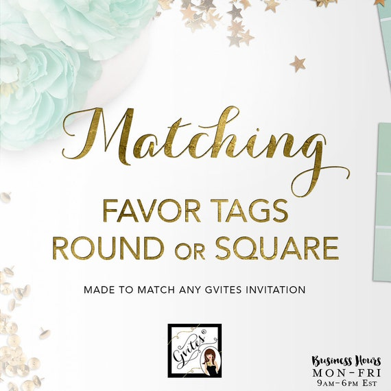 Matching Favor Tags Add-on - To Coordinate with Any Gvites Invitation Design