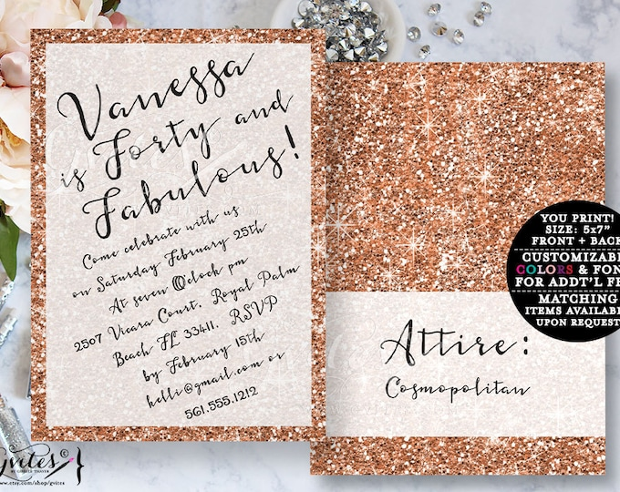 Rose gold birthday invitation rose gold glitter invitation 40 fabulous, fashion designer glitz and glam, bling elegant, sophisticated invite