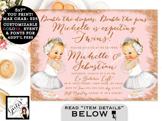 "Swan Lake Twins Baby Shower Printable Invitation, Rose Gold Blush Pink and White. Twin Ballerina Vintage Invites, 7x5"" Digital Only!"