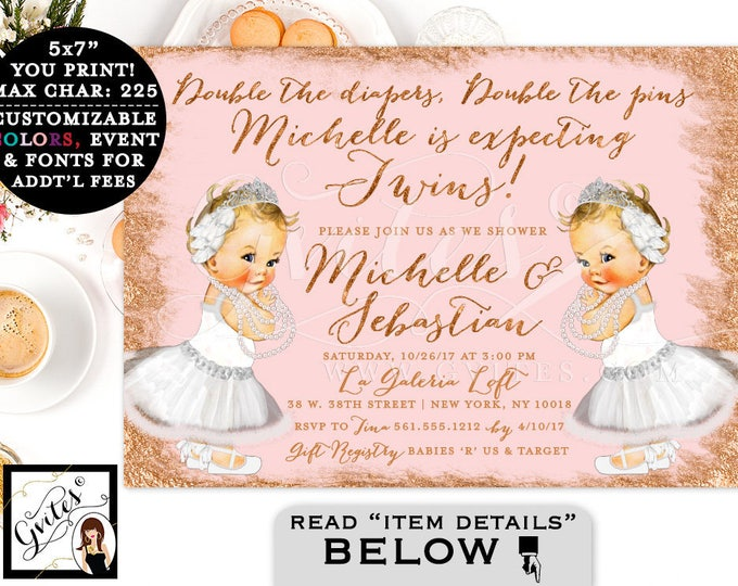 Rose Gold Baby Shower Invitation, Swan Lake Twin Baby Girls, Vintage White Ballerina, Printable Party Invites, Digital, DIY, 7x5""