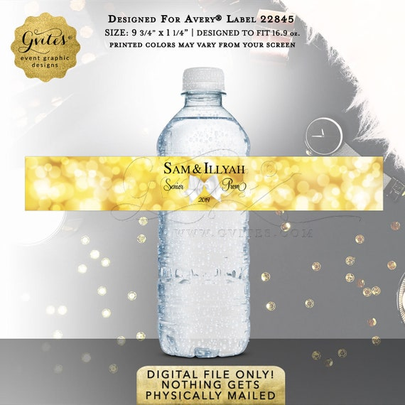 "Prom Water Bottle Labels | Graduation Party Favors Gifts | 9.75x1.25""/ 5 Per Sheet {Designed Avery® 22845}"