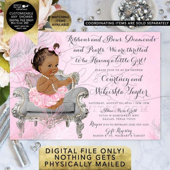 Pink and Silver Baby Shower Invitation/ ribbons bows/ diamonds pearls, ethnic shower invites. Gvites {Feathers: Silver/ White/ Pink}