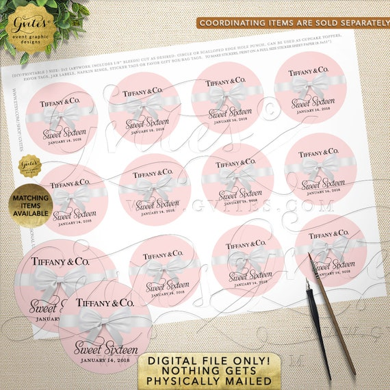 "Blush Pink Candy Bag Labels Round Stickers | JPG & PDF 2x2""/12 Per Sheet 