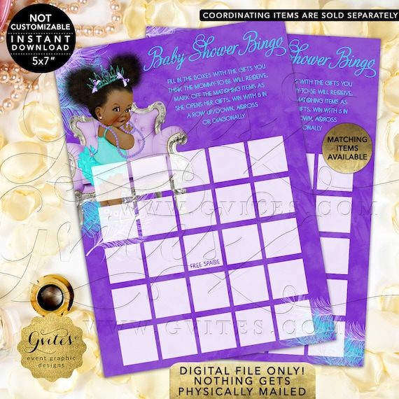 "Bingo Baby Shower Game | Purple Lavender Aqua Turquoise | Tiara Princess Afro Puffs Girl 7x5"" 2 Per Sheet  {Instant Download}"