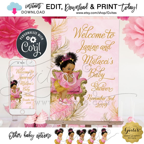 "Pink Gold Welcome Sign | Vintage Baby Girl Afro Princess Decorations| African American Poster {Can Print Size(s): 24x36"" / 12x18""}"