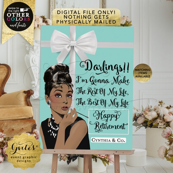 Happy Retirement. Audrey Hepburn Custom Designs/Poster Printable Digital/JPG/PDF. Can be personalized ANY Event!