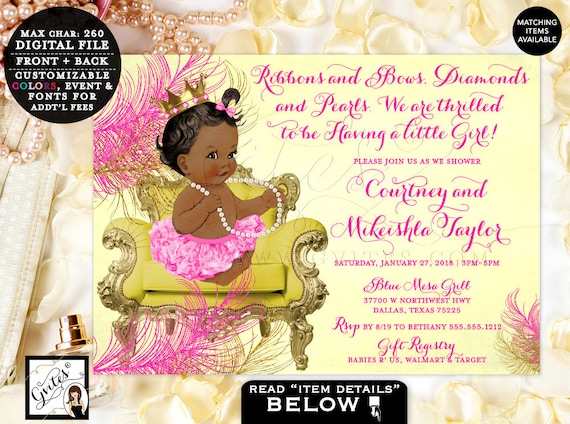 "Ribbons and Bows Pink Yellow and Gold Baby Shower Invitations, Princess vintage invitations, African American Baby Girl, 7x5"" Gvites."