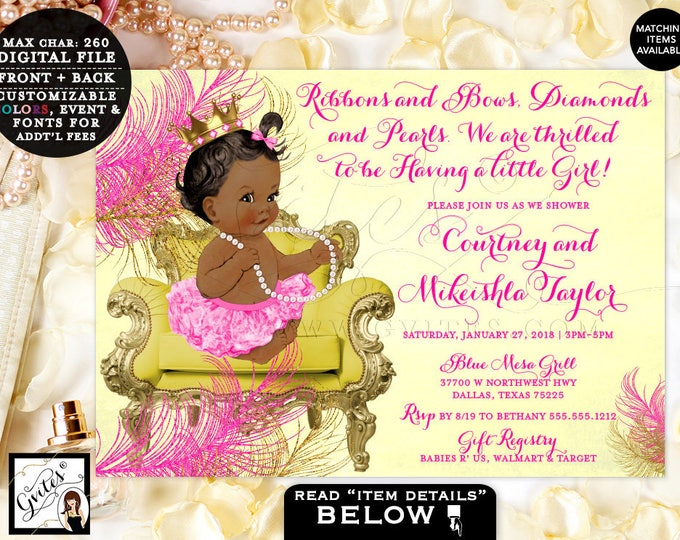 "Ribbons and Bows Pink Yellow and Gold Baby Shower Invitations, Princess Baby Invites, Vintage, African American Baby Girl, 7x5"" Gvites."
