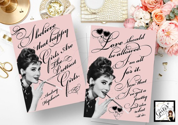 Pink Audrey Hepburn Quote Signs {5x7 Set of 2} By Gvites