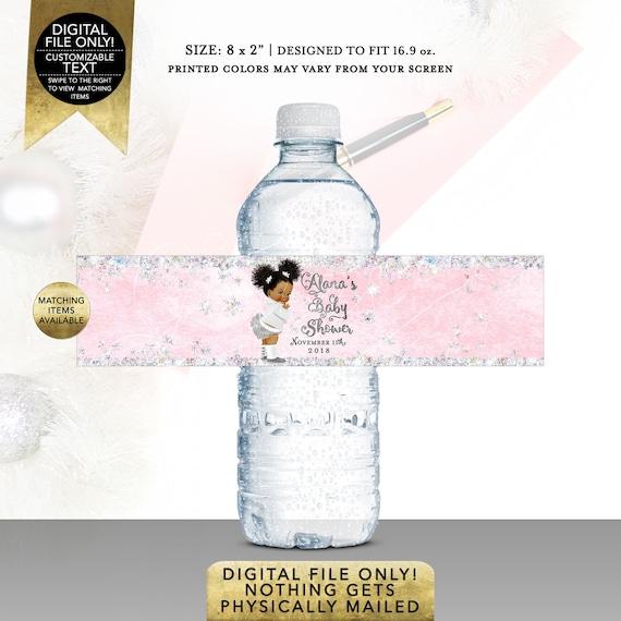 "Water Bottle Labels Winter Wonderland/ African American afro puffs. Digital File Only! JPG + PDF Format Size: 8x2"" 5 Per/ Sheet"