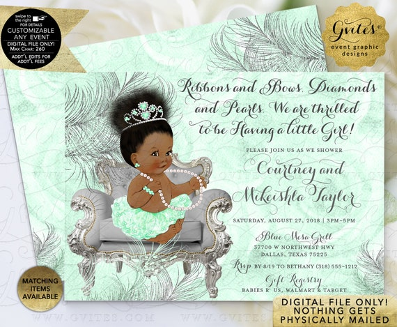 "Mint Green & Silver Baby Shower Princess / African American / Ribbons Bows Diamonds Pearls / Tiara Gems Printable/7x5"" Double Sided"