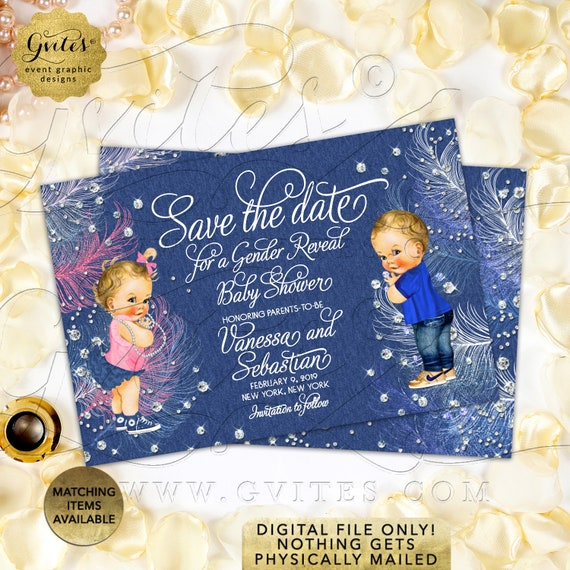 "Denim Diamonds Baby Shower Save The Date Gender Reveal | Girl or Boy | JPG + PDF Size: 6x4"" double sided."