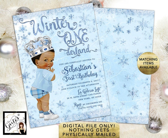 "African American Prince Winter ONEderland Birthday Invitations | Ice Blue Frosted Frozen First Party | Digital File 5x7"" Double Sided."