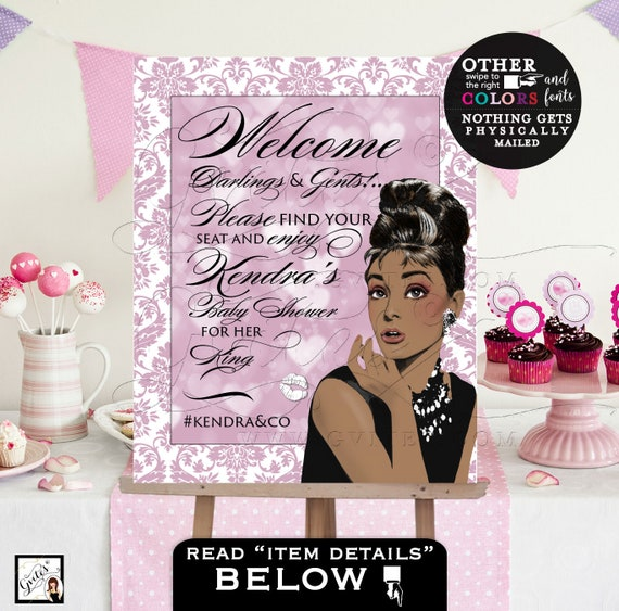 Audrey Hepburn Welcome Sign | Baby Shower Poster Sign Printable | African American Breakfast at Co Party Themed DIY/Digital