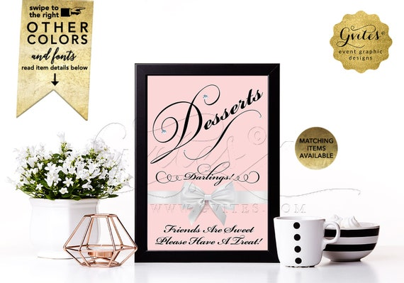 Dessert sign Breakfast at bridal shower signs Avail: 4x6/ 5x7 & 8x10 by Gvites