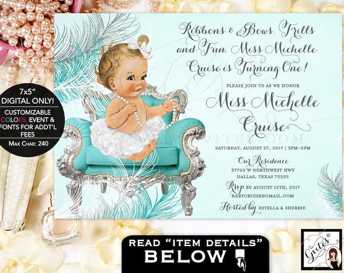"""Ribbons and Bows First Birthday Invitation, Blue and silver invitations, ribbons bows frills and fun, baby girl, vintage, 7x5"""" Gvites"""
