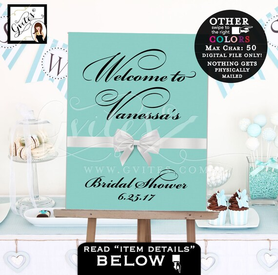 Bridal Shower Welcome Sign/ Bride & Co Blue White Bridal Shower Table Sign backdrops banners poster/ Turquoise White Bow PRINTABLE.