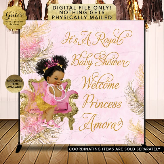 Baby Shower Pink & Gold Backdrop Afro Puffs Baby Girl | African American Vintage Theme Photo Prop Banner | Digital JPG + PDF