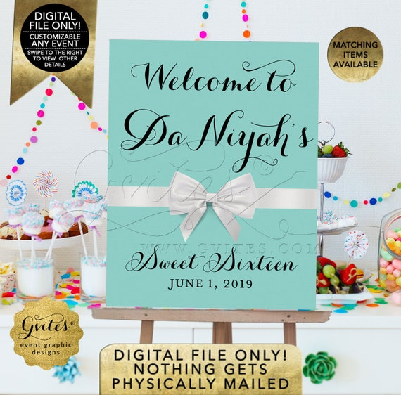 Sweet 16/Quinceanera Welcome Sign | Customizable text | Breakfast at Blue theme white bow | Printable JPG + PDF