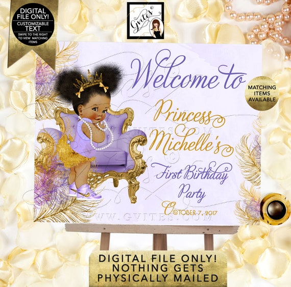 First/ 2nd/ 3rd/ 4th/ 5th Birthday WELCOME SIGN/ Gold & Lavender Princess Baby Afro Puffs/ African American/ Printable Party DIY