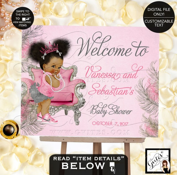 Pink and Silver Baby Shower Welcome Sign | Princess Decoration Vintage African American Afro Puffs Pink Tiara