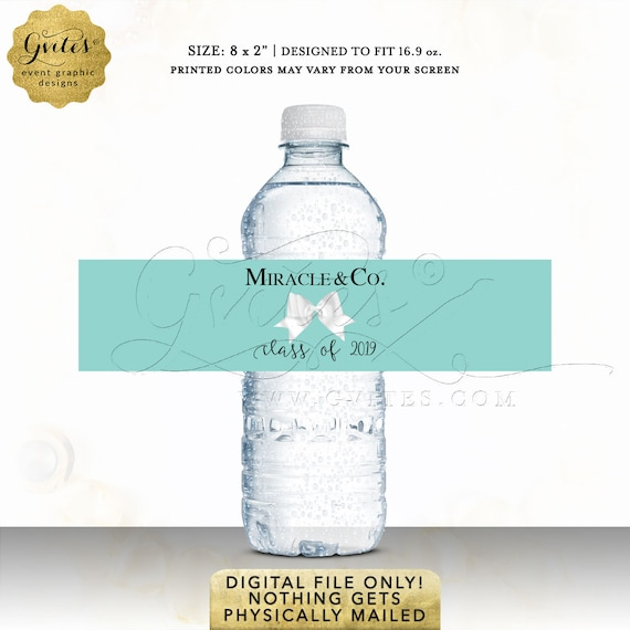 Graduation Water Bottle Labels Personalized/ Breakfast & Co Party Favors/ Printable JPG + PDF
