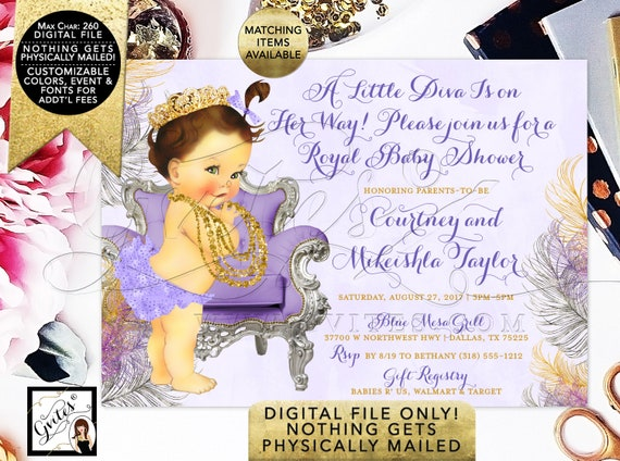 A little Diva Baby Shower Invitation, Lavender gold and silver, Caucasian/Brunette. Digital File!
