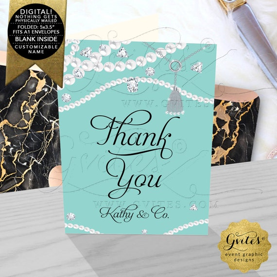 """Pearls Diamonds Bridal Shower Thank You Card. Can Be Customizable For Any Event! JPG + PDF 3.5x5"""" 4/ Per Sheet"""
