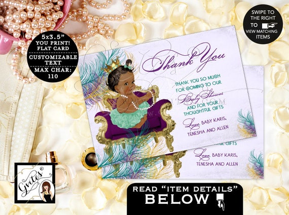 "Thank You Baby Shower Purple Teal Cards/ Princess African American Peacock Printable Baby Girl. 5x3.5"" 4/ Per Sheet"
