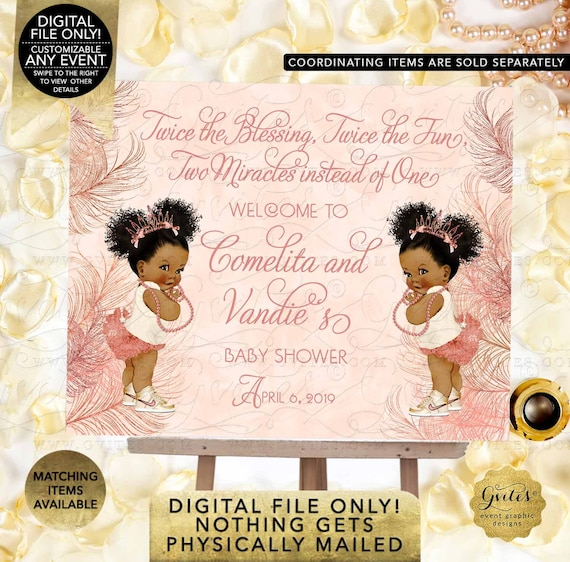 Rose Gold Welcome Princess African American Baby Shower Twin Girls | Digital File Only! JPG + PDF By Gvites
