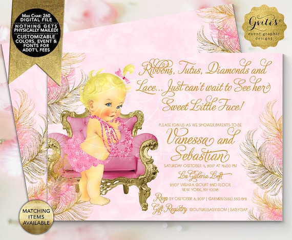 "Pink Gold Baby Shower Invitations / Ribbons Tutus Diamonds/ Vintage Printable Couture Party. 7x5"" Double Sided {Design: TIACH-110} By Gvites"