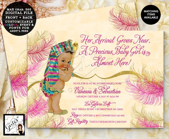 Egyptian Baby Shower Invitation, Pink and Gold | by Gvites