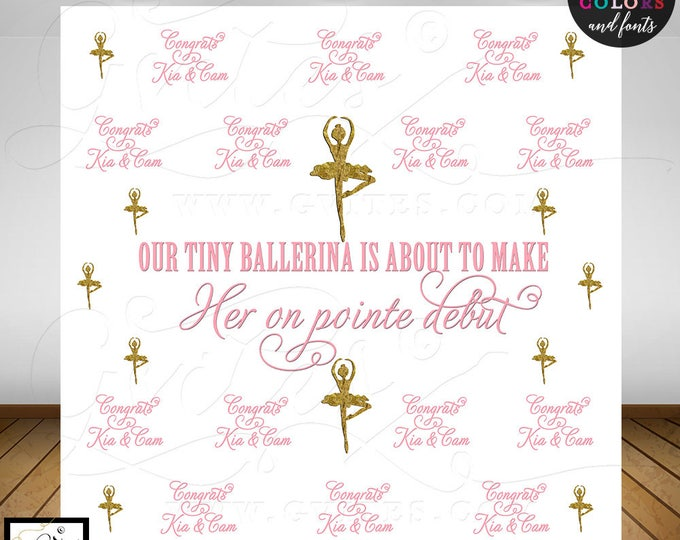 Pink and Gold Step and Repeat backdrop, Ballerina custom step & repeat banner back drops sign, Digital File Only!