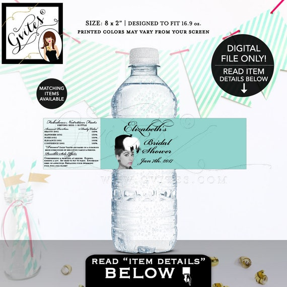 """Bride and Co water labels, breakfast at blue themed Audrey Hepburn, custom wrapper. {8x2"""" 5 Per/Sheet} Gvites"""