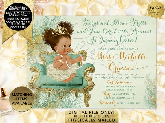 Mint & Gold Afro Puffs Baby Girl Invitations | African American First Birthday/ Vintage Ribbons and Bows. Digital File JPG + PDF 7x5""