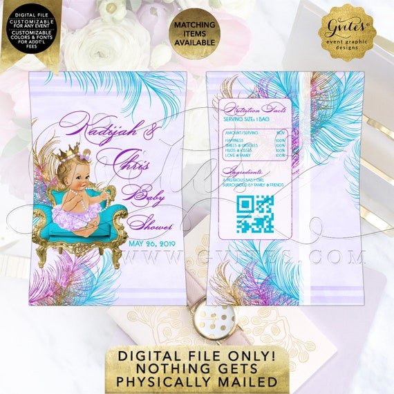 Chip Bag Printable Peacock Baby Shower Turquoise Lavender Purple Gold | Digital PDF + JPG Format | By Gvites