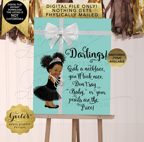 INSTANT Download Baby Co Game Don't Say Baby Necklace Game Sign Dark/ Puffs Curly | JPG + PDF By Gvites