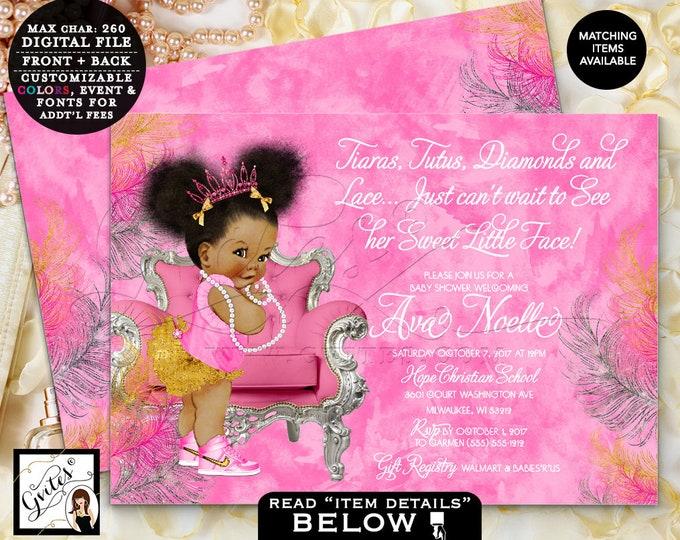 "Pink Gold & Silver Baby Shower Invitation, Fuchsia invites tiaras tutus diamonds pearls vintage, Afro Puffs, 7x5"" Double Sided. Gvites"