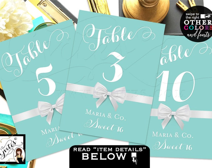 Sweet Sixteen and Co Table Numbers, Sweet 16 Printable Table Cards, Decorations, Party Printables, DIY, 4x6 or 5x7. DIGITAL FILE! Gvites