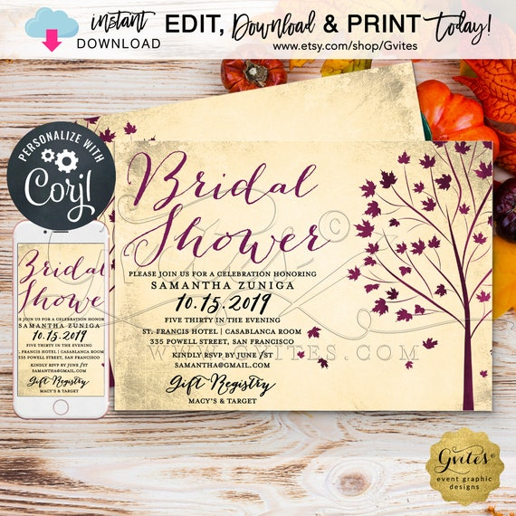 "Fall Bridal Shower Invitation \ Burgundy Ivory Autumn Fall Leaves Vintage Tree. 7x5"" Double Sided."