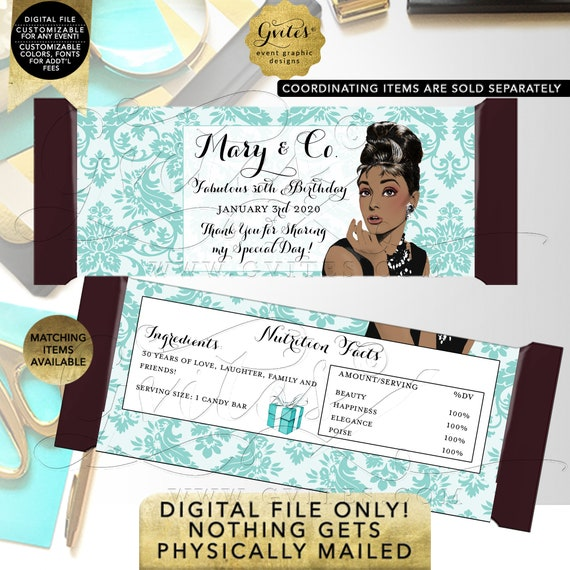 Fabulous 30th Candy Bars Personalized Wrapper Labels / Party Favors / Gifts Table Decorations / Audrey Hepburn African American. Any Event!