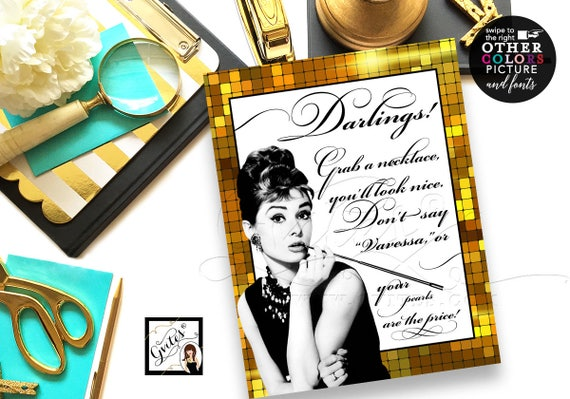 Great Gatsby Audrey Hepburn Pearl Necklace Game/ Black white and gold/ breakfast at bridal shower games/ printable/ 8x10