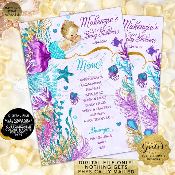 Vintage Baby Shower Mermaid Menu Turquoise Purple Lavender Gold | JPG + PDF 5x7/2 Per Sheet | by Gvites