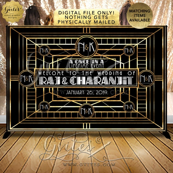 Great Gatsby Wedding backdrop 1920's step & repeat/ table banners/ entrance welcome signs/ photo booth wall back drops/ digital file only!